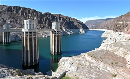 452183678 Intake towers at the Hoover Dam are shown a month ago in the Lake Mead National Recreation Area in Arizona. Last week, North America's largest man-made reservoir dropped below 1,082 feet above sea level, the lowest it's been since the Hoover Dam was built in the 1930s.
