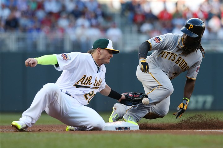 20140715star0716c National League outfielder Andrew McCutchen, of the Pittsburgh Pirates, steals third base as American League Josh Donaldson, of the Oakland Athletics, tries to make the tag during the first inning of the MLB All-Star game.