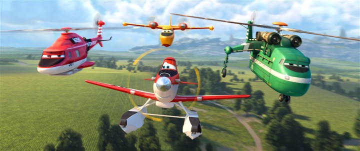 "planes03-2 From left in ""Planes: Fire & Rscue"": Blade Ranger, Dipper, Dusty, Windlifter."