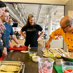 Google Pittsburgh Teaching Chef John Karbowski Google Pittsburgh Teaching Chef John Karbowski prepares yucca with avocado and pepper vinegar salads in the KitchenSync: The Download on Food, a teaching kitchen for Google employees.