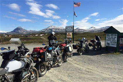 Motorcycles parked at the Tangle River Inn Motorcycles are parked at the Tangle River Inn on the Denali Highway of Alaska.
