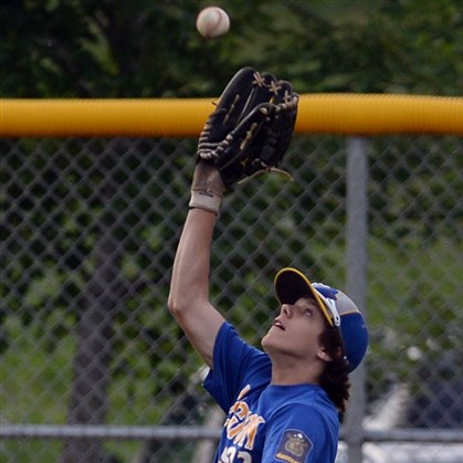 20140714mflegionsports02.jpg Houston's Chandler Palyas pulls in a fly ball against Moon in an American Legion baseball game Monday at Peterswood Park.
