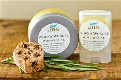 Wound Wonder by Pittsburgh-based Una Biologicals From cuts and bug bites to kitchen burns, Wound Wonder by Pittsburgh-based Una Biologicals can help them all. It's made with organic extracts of calendula, comfrey and chickweed. It's $5.50 for a small easy applicator, or $10 for a 2-ounce tub at www.unabiologicals.com