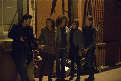 "Purge4 The cast of ""The Purge: Anarchy"" includes, from left, Frank Grillo, Zoe Soul, Carmen Ejogo, Kiele Sanchez and Zach Gilford."