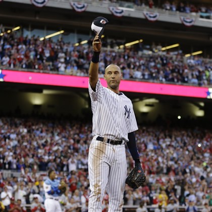 jeter0716e American League shortstop Derek Jeter waves as he is taken out of the game in the top of the fourth inning of the MLB All-Star baseball game.