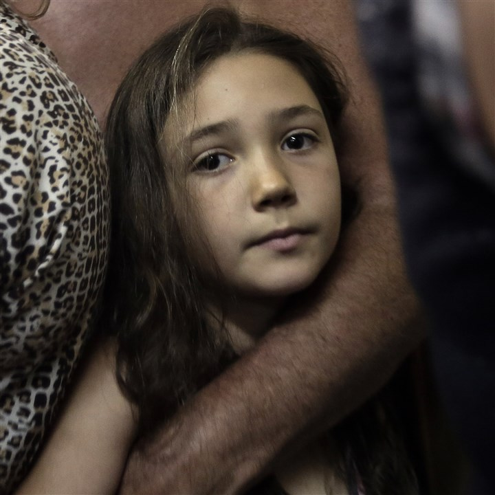 Mideast Israel Palestinians An Israeli girl in a shelter near Beersheba Saturday as a siren warns of rockets incoming from Gaza.