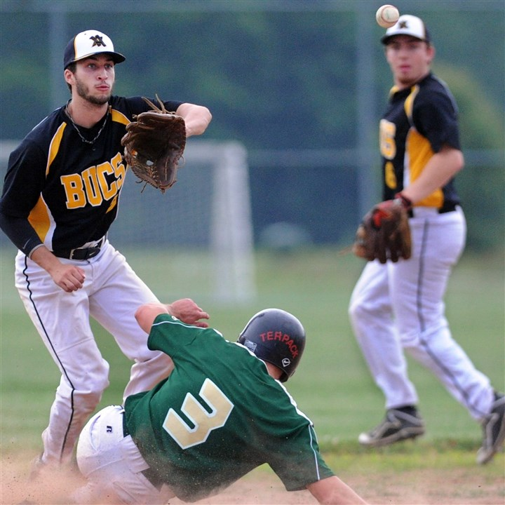 20140616JHZsportsFedBB06.jpg Allegheny Valley's Corey Lazer, left, waits on the throw as South Hills' Kenny Terpack slides in safely as Justin Smith, right, backs up the play.