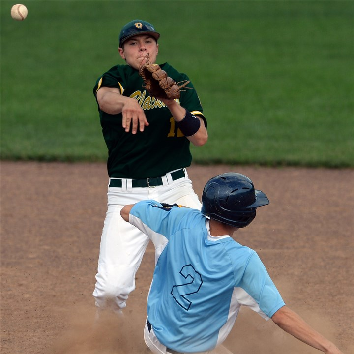 20140709mfblackhawksports07.jpg Blackhawk's Joe Campagna gets Hopewell's Griffin Curry out at second base on a double play during the opening game of the Beaver County American Legion championship series.