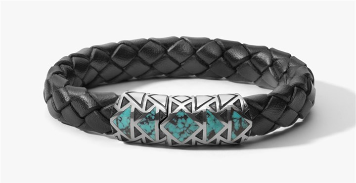 20140716hostyleCmag David Yurman's leather, silver and turquoise Frontier bracelet for men.