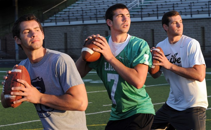 20140716mfvarsitysports04-3 Luke, Brett and Christian Brumbaugh. All three brothers are quarterbacks at Robert Morris, South Fayette and William & Mary.