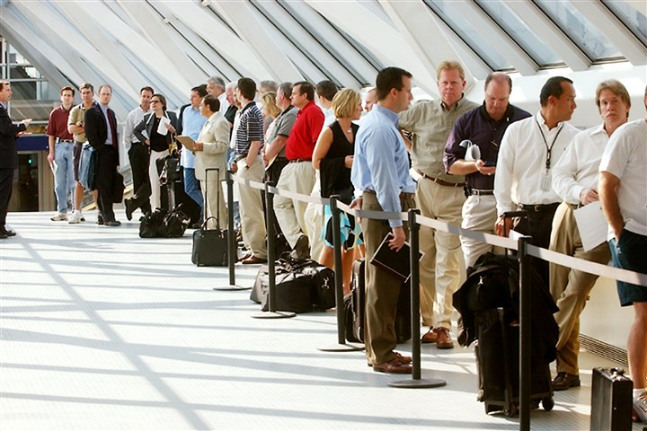 Passengers wait in line Passengers wait in line to go through security at an airport. The so-called Sept. 11 security fee that was intended to fund the Transportation Security Administration is about to increase, but airline officials say the fee hike is another way the government is tapping an already highly taxed industry.