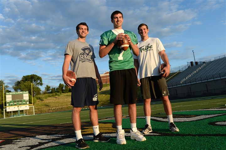 20140716mfvarsitysports02-1 Luke, Brett and Christian Brumbaugh. All three brothers are quarterbacks at Robert Morris, South Fayette and William & Mary.