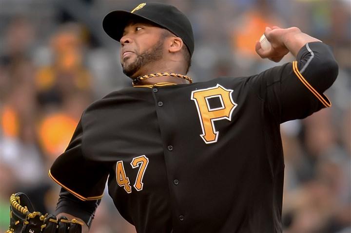20140718pdPiratesSports01 Pittsburgh pitcher Francisco Liriano delivers against the Colorado Rockies during the Pirates' win at PNC Park.