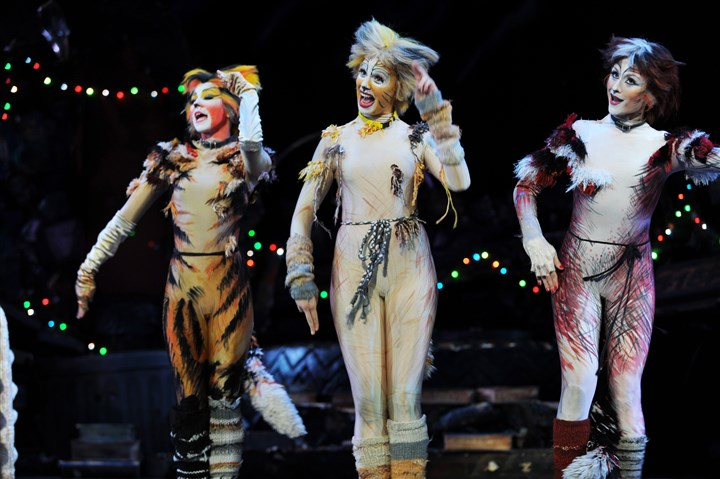 "Jenna Nicole Schoen, Lily Emilia Smith and Ashley Chasteen Jenna Nicole Schoen as Demeter, Lily Emilia Smith as Jellylorum and Ashley Chasteen as Bombalurina in Pittsburgh CLO's ""Cats"" at Benedum Center through July 27."