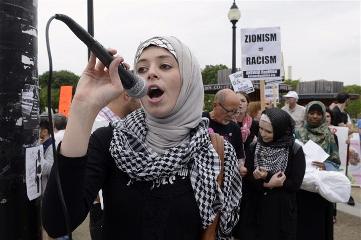 21-year-old Pitt senior Hadeed Salaameh Pitt senior Hadeel Salameh, 21, a native Palestinian, helped organize the Oakland protest that called on the United States to withdraw financial support for Israel over that country'‍s military assault in the Gaza Strip.