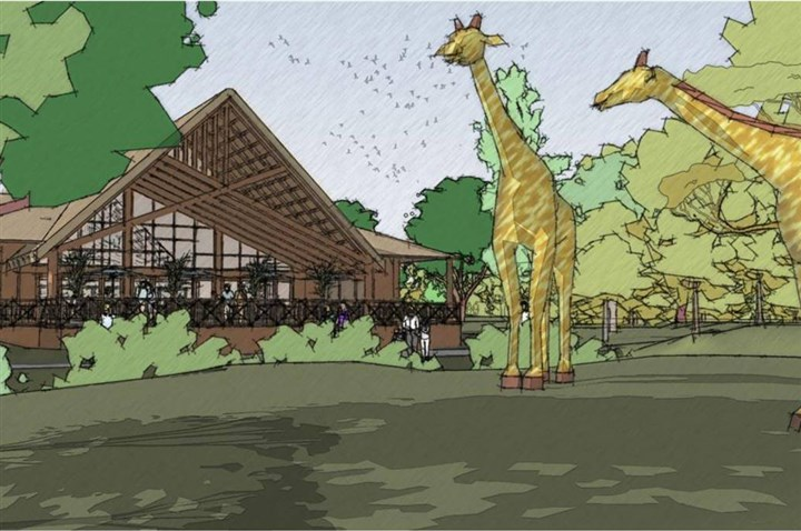 20140719zooplaza2-1 The Pittsburgh Zoo & PPG Aquarium wants to build a new African-themed restaurant near the expanded African Savannah display. Plans have to go through the city art commission