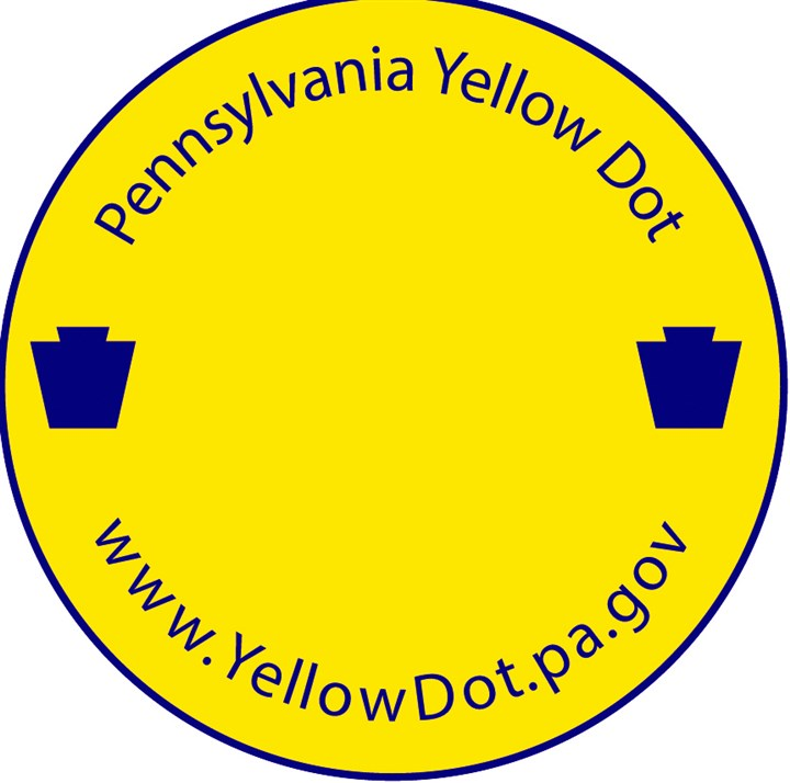 20140718hdYellowDotNZ The Pennsylvania Department of Transportation created the Yellow Dot program, which is modeled after one in Alabama, in November 2012 to alert emergency responders that contact and medical information is in the glove box of a vehicle involved in an accident.