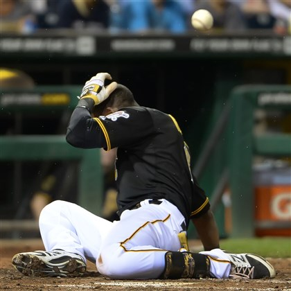 20140718pdPiratesSports06-1 Starling Marte will return tonight after being hit by a pitch against the Rockies at PNC Park on July 18,