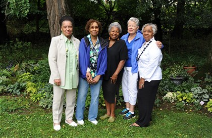 20140719SSgardenersMag2-1 Members of the Stoop N' Bend Club in Carolyn Collier's Penn Hills garden before a recent monthly meeting. From left are Harriet Thomas, Eunice Hod-Carl, Carolyn Collier, Ruth Still and Agnes Curry