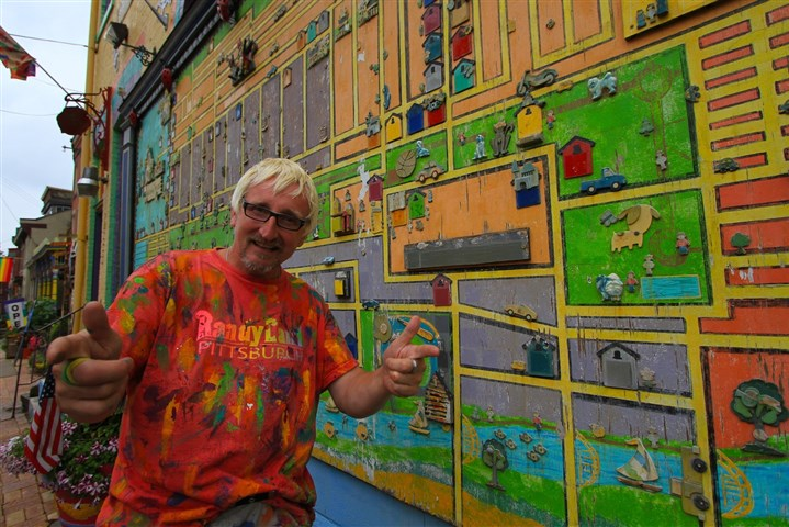 Randyland July 2014 Randy Gilson painted a stylized map of old Allegheny City on the south wall of his Mexican War Streets home.