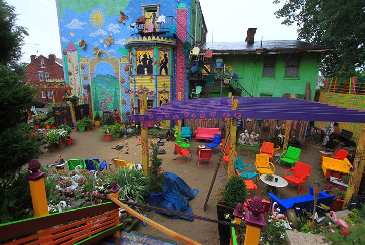 Randyland July 2014 Randyland features a courtyard with no shortage of art, furniture and other items to gaze at.