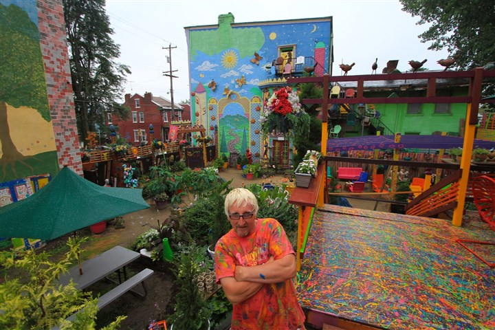 Randyland July 2014 Randy Gilson in the courtyard of Randyland in the Mexican War Streets.