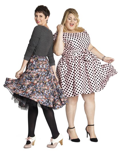 ModCloth x Nicolette Mason collection  ModCloth co-founder Susan Gregg Koger and style blogger and fashion writer Nicolette Mason wear pieces from their collaboration collection, which includes sizes XS to 4X. It will be available in October at www.modcloth.com.