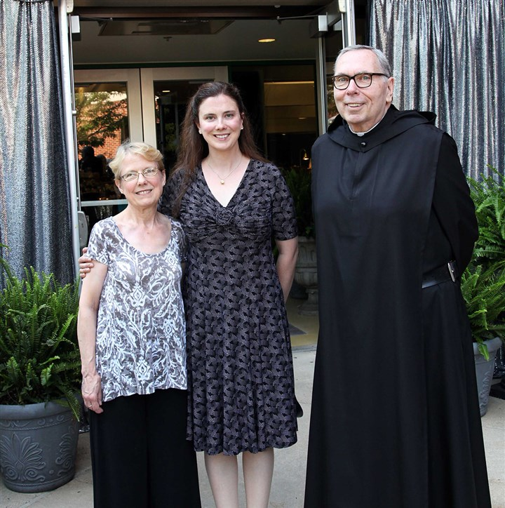 3 Saint Vincent theater gal.jpg Pat Reill, Colleen Reilly and Fr. Bonaventure Curtis, O.S.B.