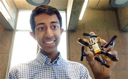 Mihir Garimella, 14, with the flying robot on which his project was based. Mihir, a sophomore at Fox Chapel Area High School, earned top honors in the International Google Science Fair.