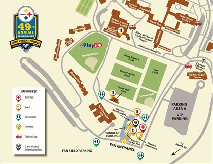 Steelers Training Camp Map A map of the Steelers training camp facilities and grounds at Saint Vincent College.