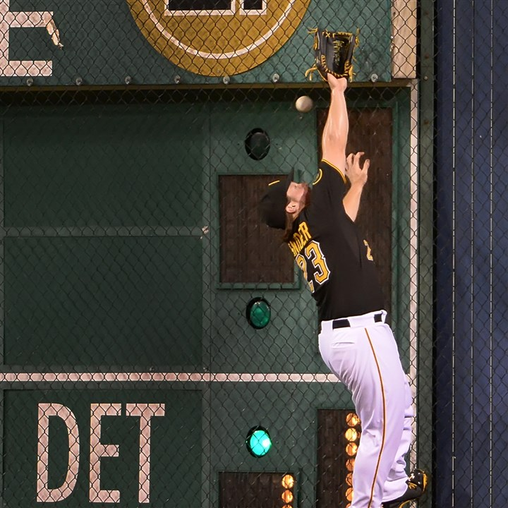 20140721pdPiratesSports06 Pirates right fielder Travis Snider can not make the catch on ball hot for a double by the Dodgers Adrian Gonzalez at PNC Park.