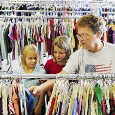 82w00l7n Bertha Heintz of Cecil shops with granddaughters Harley Heintz, 9, left, and Kayla Heintz, 11, at Goodwill of Southwestern Pennsylvania's retail store in the former Prizant's Carpets location on U.S. Route 19.