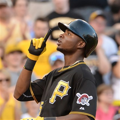 20140722pdPiratesSports06-3 Gregory Polanco watches his home run against the Dodgers leave PNC Park.