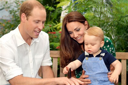 "Australia Britain Prince George Britain's Prince William, Kate, the Duchess of Cambridge and Prince George visit the ""Sensational Butterflies"" exhibition at the Natural History Museum in London."
