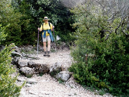 Hiker Lynda McDonnell Hiker Lynda McDonnell, armed with her new alumimum poles, navigates the long descent into the Verdon valley.