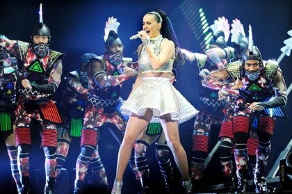 "Katy Perry performs Roar Katy Perry opens with :Roar"" at Consol Energy Center on Tuesday night."