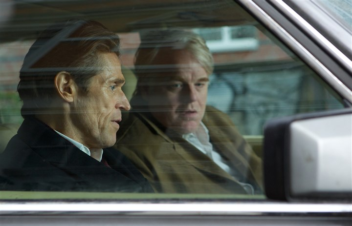 "AMostWantedMan2 Willem Dafoe and Philip Seymour Hoffman in the spy thriller ""A Most Wanted Man."""