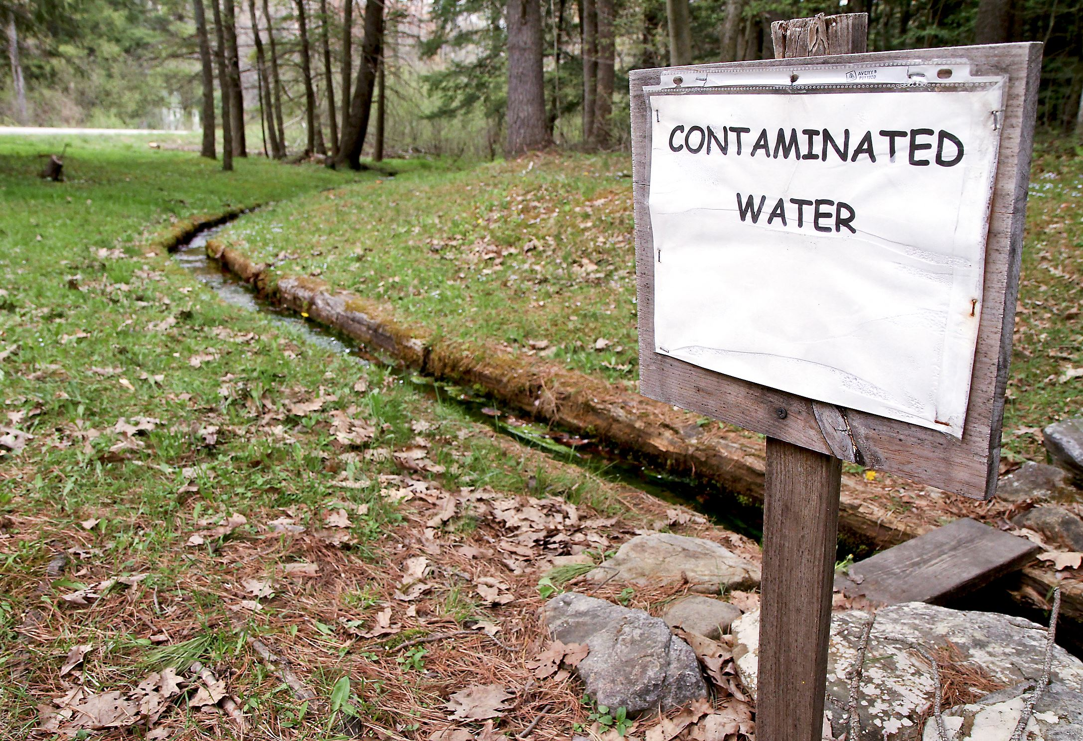 frackwater2 Members of the Sykesville Hunting Club in Clearfield County posted this sign near the natural spring on their hunting camp property in Moshannon State Forest. The spring was contaminated by leaks from Marcellus Shale drilling operations.