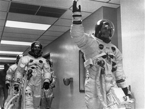An upcoming exhibit at the Heinz History Center will celebrate the Apollo 11 mission that landed astronauts Neil Armstrong and Buzz Aldrin on the moon in 1969. Here, Armstrong leads Aldrin and Michael Collins through the space center.