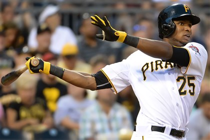 20140723pdPiratesSports04-3 Gregory Polanco singles and then scored against the Dodgers at PNC Park.