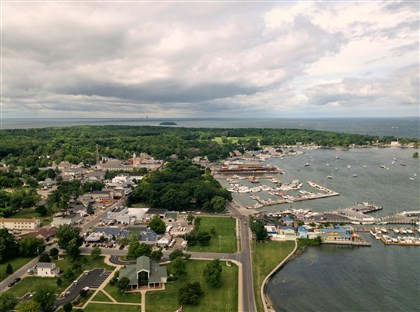 20140723gmPIB03Food-2 A view of Put-in-Bay village from the observation deck of Perry's Victory and International Peace Memorial, built in 1915 to honor those who fought and died during the Battle of Lake Erie and the War of 1812.