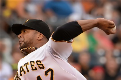 20140723pdPiratesSports03-2 Pirates starter Francisco Liriano delivers against the Dodgers at PNC Park.