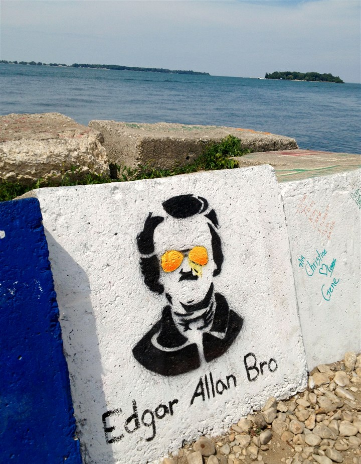 20140723gmPIB05Food-4 Put-in-Bay, Ohio, has a relaxed vibe, as evidenced shout out to Edgar Allen Poe near Schiff Nature Preserve on the island's eastern shores.