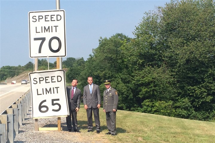 PennDOT 70 miles per hour announcement Pennsylvania Turnpike CEO Mark Compton, from left, PennDOT secretary Barry Schoch and state police Lt. Edward Murphy at a roadside news conference Wednesday in Middletown.