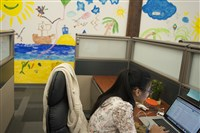 Children of of Avere Systems, Inc. employees painted a mural during Bring Your Kid to Work day.