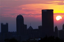 Sunset against at the Pittsburgh skyline as viewed from the overlook in Schenley Park