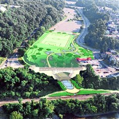 a soccer field and park As shown in this artist's rendering, a soccer field and park, with a trail running to the Allegheny River, have been proposed for an area now used for Pittsburgh zoo parking.