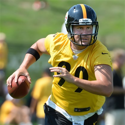 Ben Roethlisberger Pittsburgh Steelers 2014 training camp Roethlisberger scrambles during drills Saturday afternoon on the first day of practice in Latrobe.
