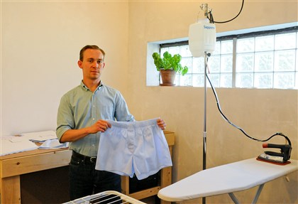 Tim Moore runs his Moore Boxers Tim Moore runs his Moore Boxers business at the Open Floor Building in Millvale. He started the business in April to help fill the void in premium quality, American-made boxer shorts.