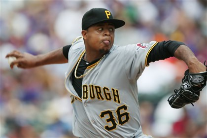 20140727PiratesRockies Baseball.JP.34-2 Edinson Volquez pitches against the Colorado Rockies in the third inning.